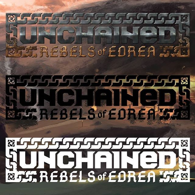 Unchained: rebels of Edrea logo design ___ #logo #logodesigner #graphicdesign #design #designer #branding #vector #flat #minimal #color #gold #metal #chain #rpg #game #fantasy #gaming #unchained #celtic