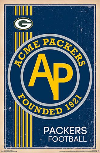 NFL Heritage Series Green Bay Packers ACME PACKERS Historic Retro Logo Poster