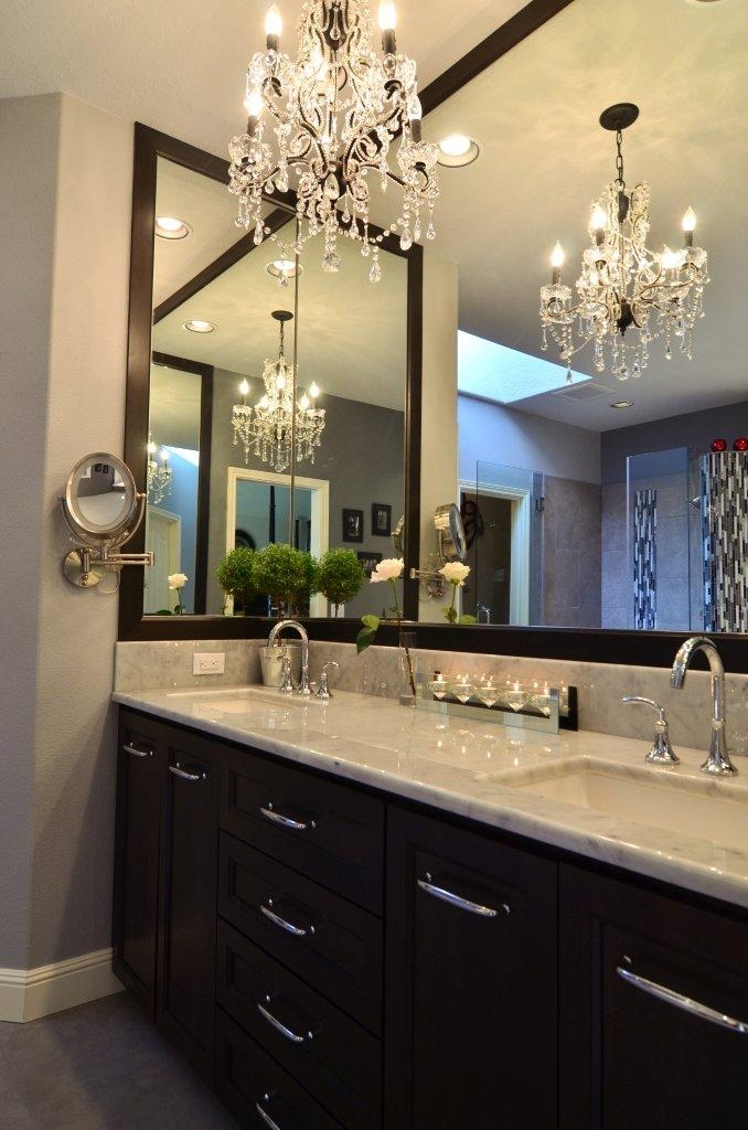 bathroom track lighting master bathroom ideas. chandelier with light counter and dark cabinets like how the mirror wraps around too find this pin more on bathroom design track lighting master ideas n