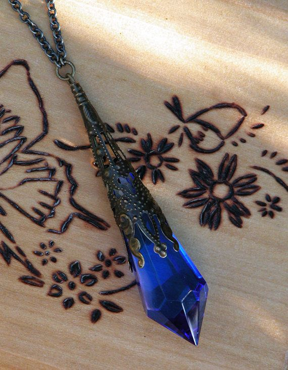 Kobold . Swarovski Crystal Magickal Prism Divination Pendulum Necklace . Bronze or Silver Filigree Pendant . 30 inch