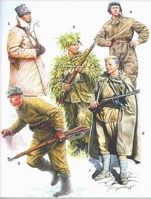 ARMATA ROSSA -  General in winter uniform (1941-43) Infantryman in winter field uniform armed with Mosin rifle mod. 1891/30. Sniper Tankman in coverall Infantryman in summer field uniform and waterproof-cape armed with Shpagin (PPSh-41) submachinegun