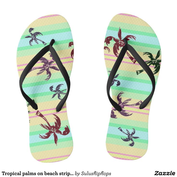Tropical palms on beach stripes flip flops - Durable Thong Style Hawaiian Beach Sandals By Talented Fashion & Graphic Designers - #sandals #flipflops #hawaii #beach #hawaiian #footwear #mensfashion #apparel #shopping #bargain #sale #outfit #stylish #cool #graphicdesign #trendy #fashion #design #fashiondesign #designer #fashiondesigner #style