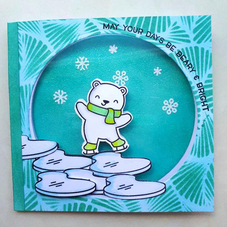 Schuifkaart op mica met de beary happy holidays van lawn fawn.