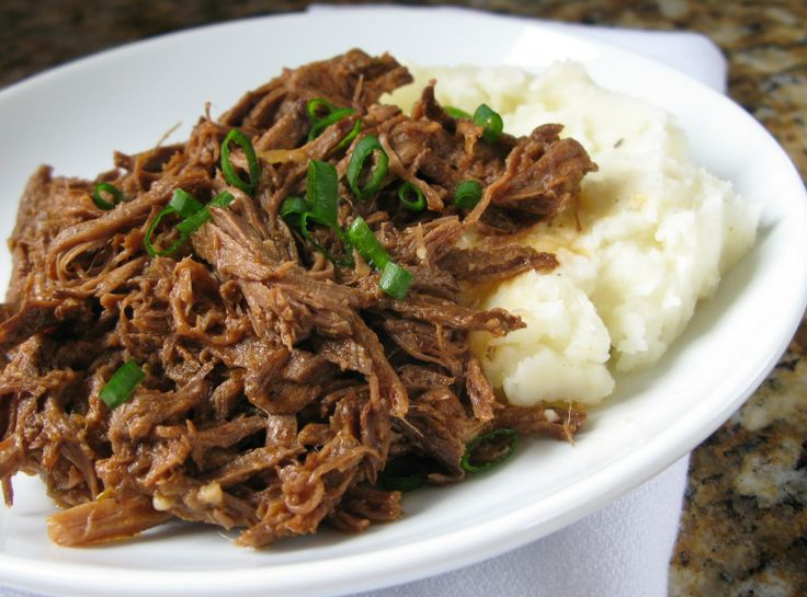 Pressure-Cooker Shredded Beef. Best part is I cooked it from frozen, with no defrosting!