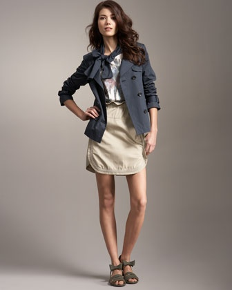 Tie-Neck Short Trench, Rolled-Sleeve Palm-Print Tee & Elastic Bib Skirt by See by Chloe at Neiman Marcus.