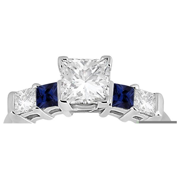 Allurez 5 Stone Princess Diamond & Sapphire Engagement Ring 18K W. ($1,300) ❤ liked on Polyvore featuring jewelry, rings, white gold, 18k gold ring, blue engagement rings, wide-band rings, diamond engagement rings and sapphire ring