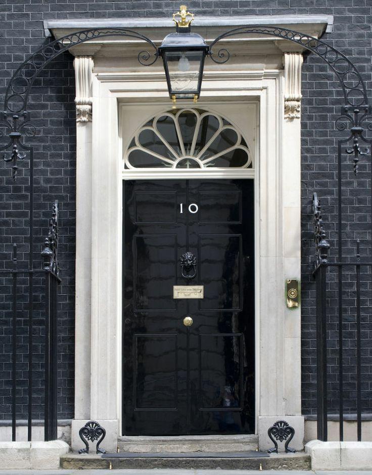 Black door 10 downing street London Real door hardware painted black to blend with door--- gold knobs in center & 9 best DOORS images on Pinterest | Doors Windows and 10 top pezcame.com
