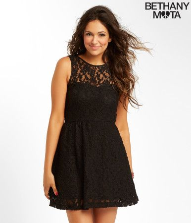 """You're gonna look ah-mazing in my Floral Lace Dress! I designed it with lace and sweet flower detailing, and it's just so soft and flowy. I bet you'll look even more dazzling if you wear it with a glam necklace! Send me a selfie, xoxo Beth<br><br>Relaxed fit. Approx. length: 33""""<br>Style: 2846. Imported.<br><br>Shell: 94% nylon, 6% spandex.<br>Lining: 100% polyester.<br>Hand wash/dry flat.<br><br>Model height: 5'9.5""""; Size: Small."""