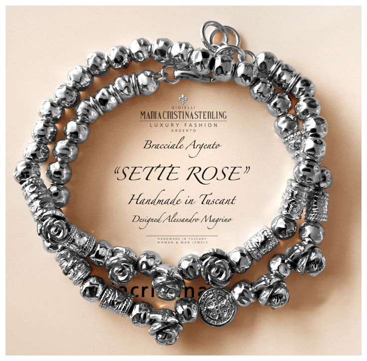 bracciale due giri sette rose argento made in Tuscany italy designed Alessandro Margino http://shop.mariacristinasterling.it
