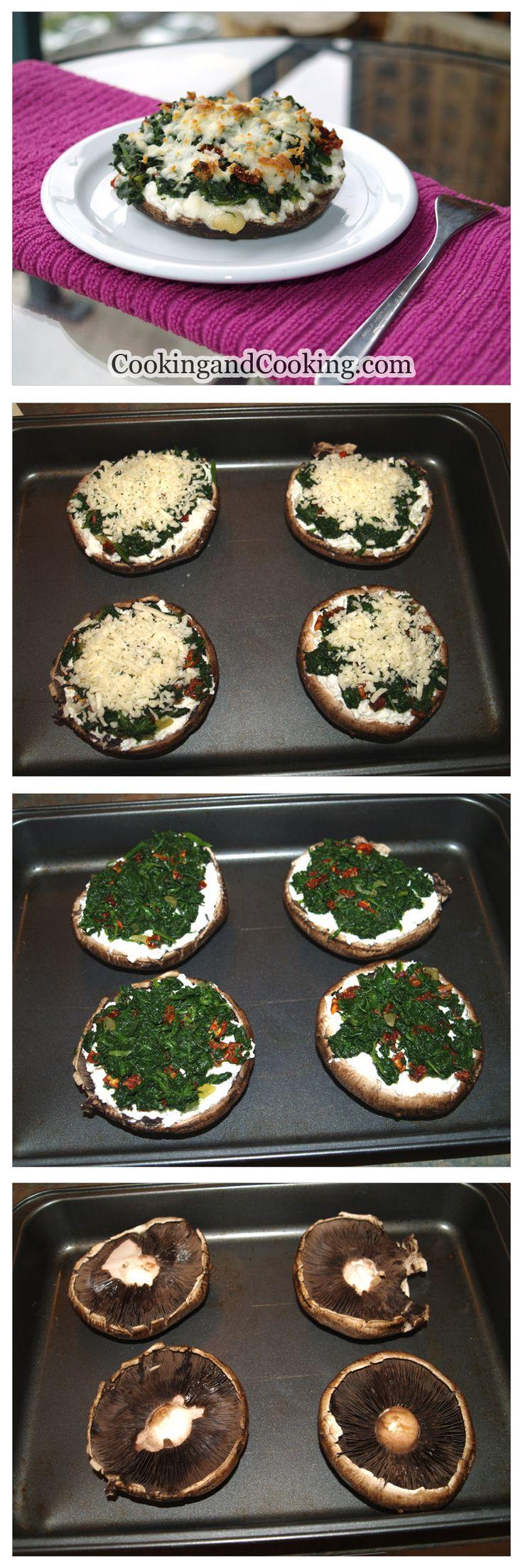 Γεμιστα Μανιταρια: Σπανακι-Τυρι Κρεμα-Κασερι.   Stuffed Portobello Mushrooms Recipe