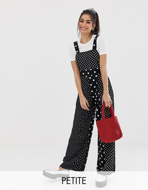 1cf9813c164 Miss Selfridge Petite pinny jumpsuit in polka dot in 2019