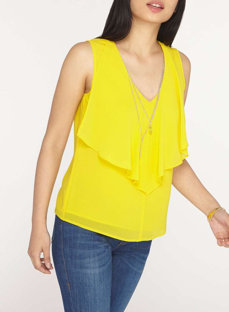 Womens Petite Yellow Top with Necklace- Yellow
