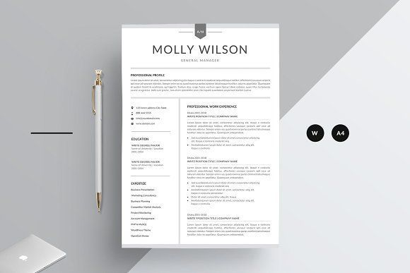 Resume Templates U0026 Design : Word Resume CreativeWork247 Fonts Graphics  Photoshop Templates Icons Illu