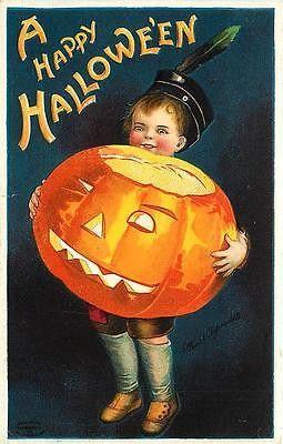Halloween Clapsaddle Artist Signed Boy Jack o Lantern Antique Vintage Postcard