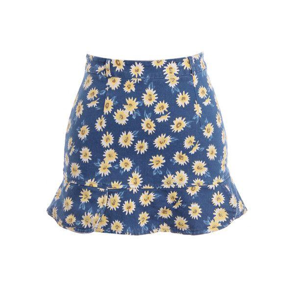 Fishtail Hem Daisy Print Bodycon Skirt ($28) ❤ liked on Polyvore featuring skirts, blue bodycon skirt, long bodycon skirt, fish tail skirt, blue skirt and body con skirt