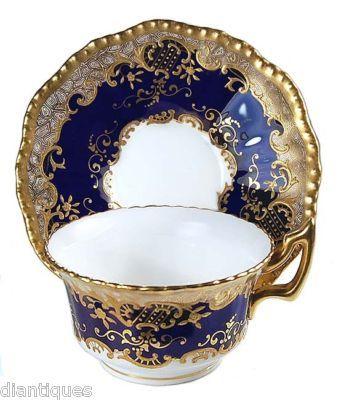 RARE ANTIQUE COALPORT COBALT BLUE & PASTE ENAMEL GOLD CABINET CUP & SAUCER!