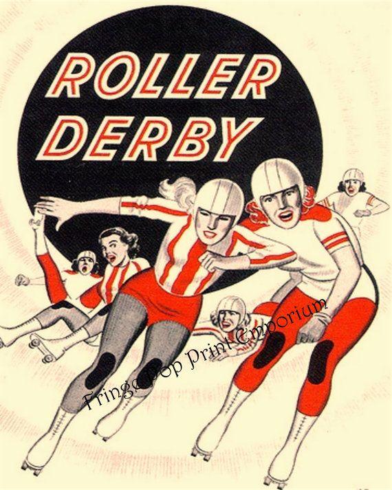 Roller Derby Print 8 x 10 Vintage Roller Derby Ad by fringepop