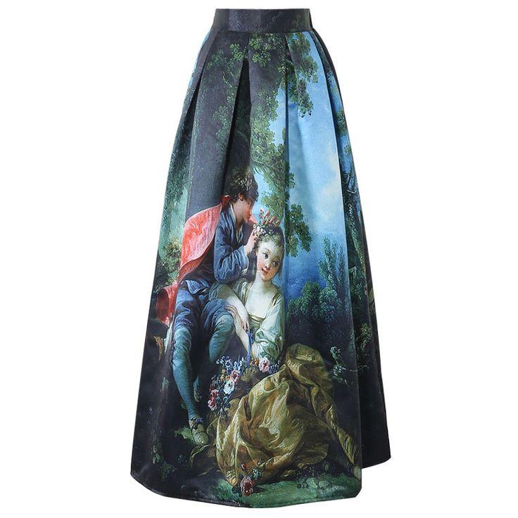 Vintage 50s Princess Royal Oil Painting High Waist 100cm Floor Length Maxi Skirt //Price: $40.68 & FREE Shipping //     #hashtag3