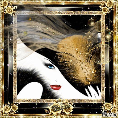 Ritratto donna oro  e nero