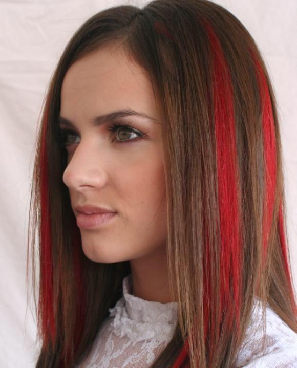 Red streaks brown hair