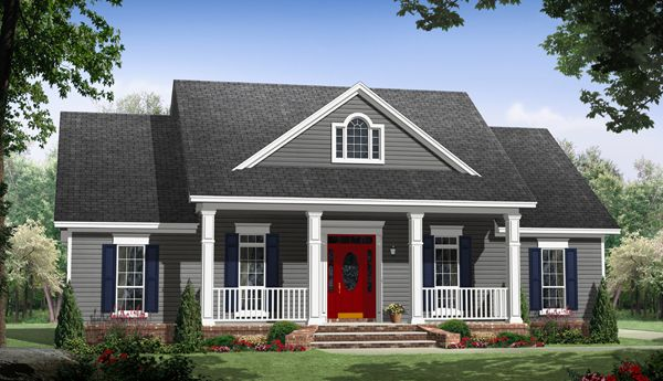 This one story houseplan features a fabulous front porch for Houseplans bhg com