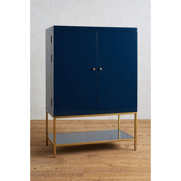 Anthropologie Lacquered Bar Cabinet ($1,998) ❤ liked on Polyvore featuring home, furniture, storage & shelves, bar cabinets, indigo, home storage furniture, door furniture, wine storage racks, lacquer furniture and anthropologie