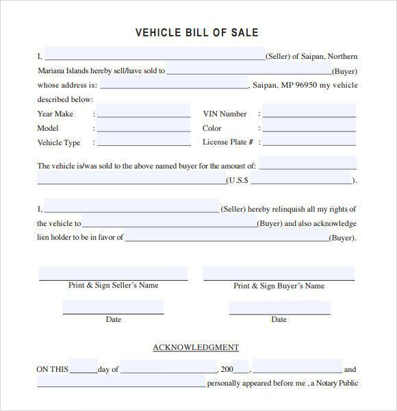 vehicle bill of sale template Wunderschön Used Car Bill Of ...