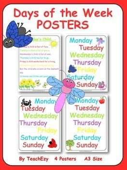Posters - Days of the Week: A choice of 3 posters to display the days of the week. Please note all 3 are similar. Includes a poster for Monday's Child.  These are A3 size but can be printed smaller. Just print, laminate and hang.  Please see preview for FULL resource before purchasing.