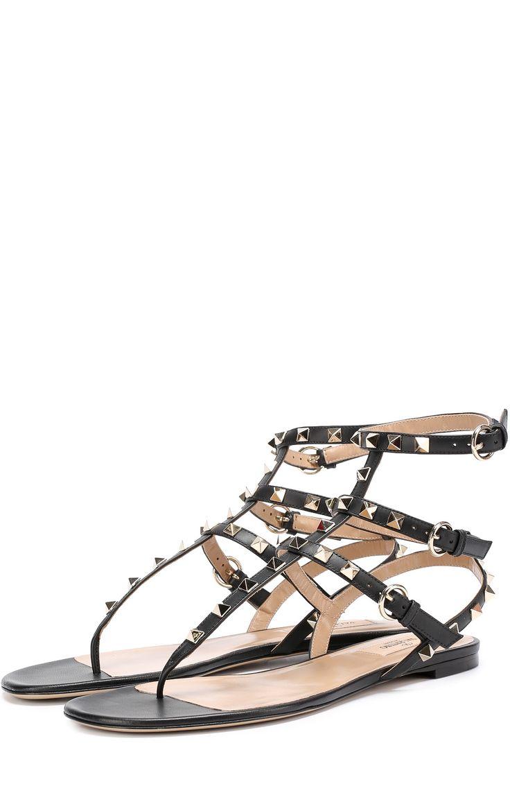 Женские черные кожаные сандалии rockstud с ремешками Valentino, сезон SS 2017, арт. ZW2S0812/V0D купить в ЦУМ   Фото №1