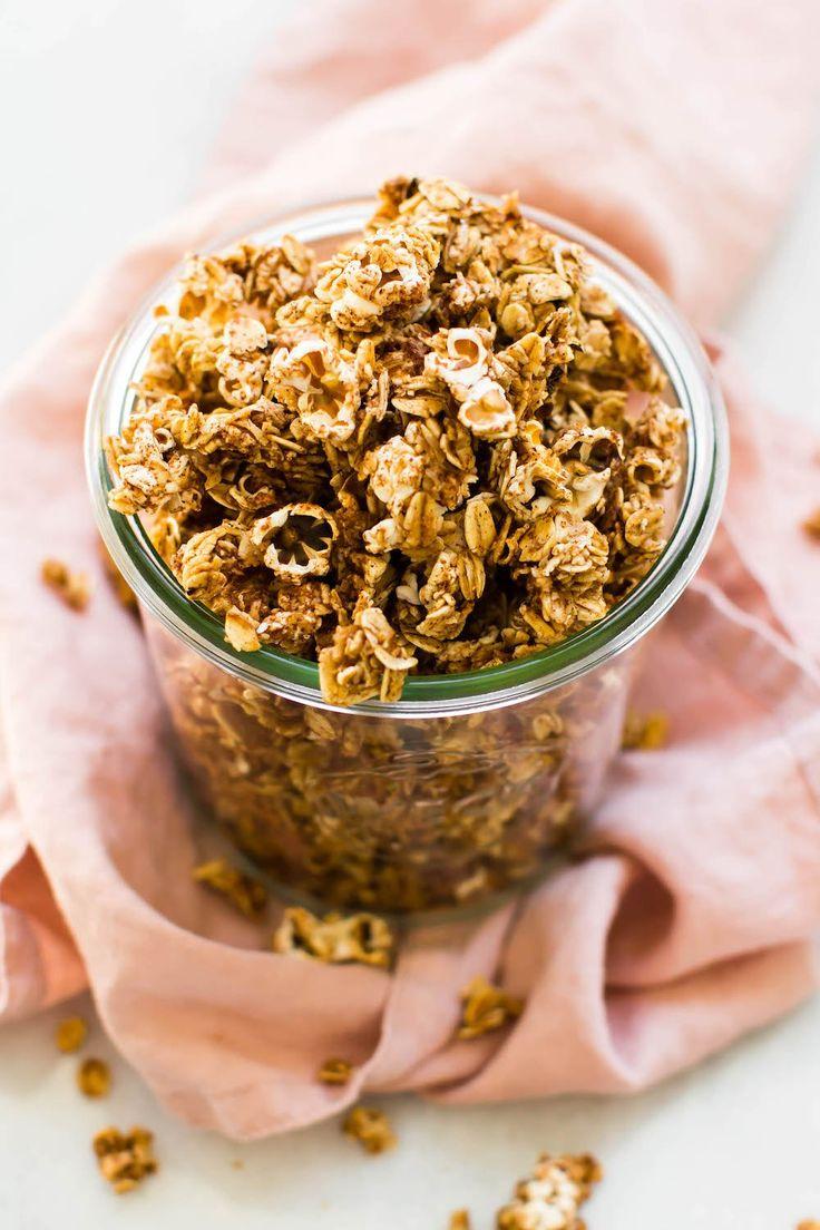 5 ingredient popcorn granola (vegan, gluten-free, oil-free)