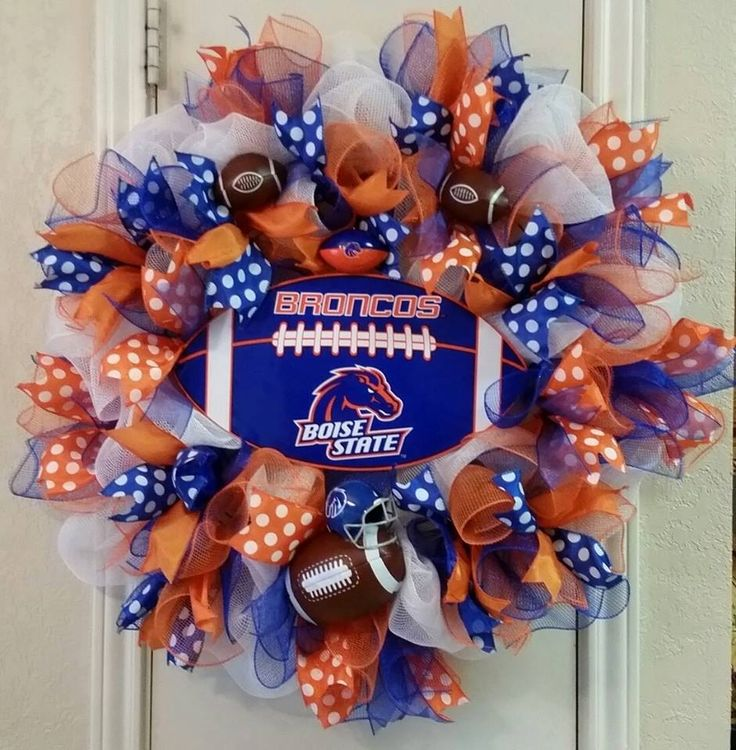 Boise State Wreath, Boise Broncos Wreath, College Wreath, Sports Wreath,Deco Mesh Wreath, Orange and Blue, Football Wreath, Special Order by SouthTXCreations on Etsy