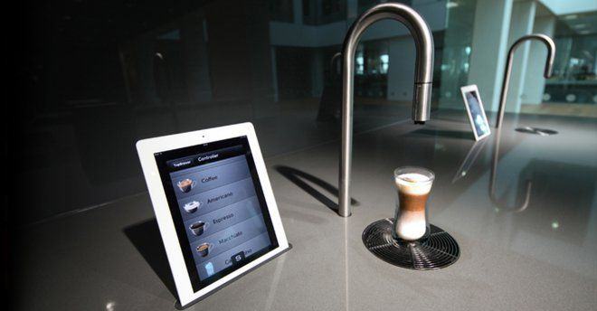 So you order your coffee on this ipad and it comes out of the spout - yup....need this in my kitchen