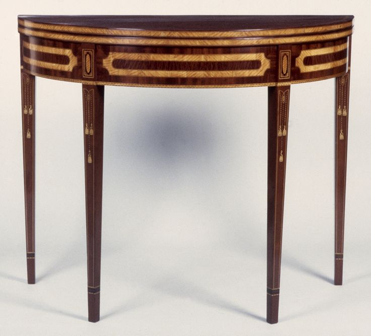 """Fig. 30: Card table, 1775–1800, Baltimore, MD. Mahogany and mahogany veneer with white pine and oak (fly gate) and satinwood and other exotic wood inlays; HOA: 29-5/8"""", WOA: 35-3/4"""", DOA: 17-5/8"""". Collection of the Maryland Historical Society, Acc. 69.65.1; MESDA Object Database file S-10050.<a onclick='return hs.printImage(this)' href='#'>Print</a>"""