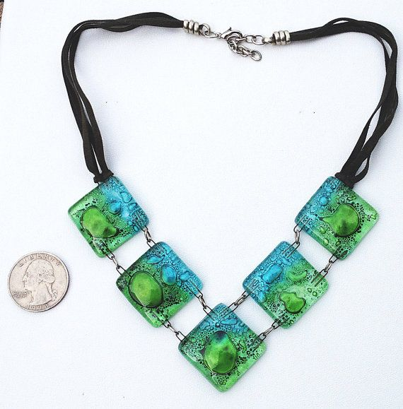 Fused Glass Necklace by nativadesigns on Etsy, $25.00