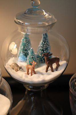 Miniature snow worlds...I need to have a white Christmas soon!