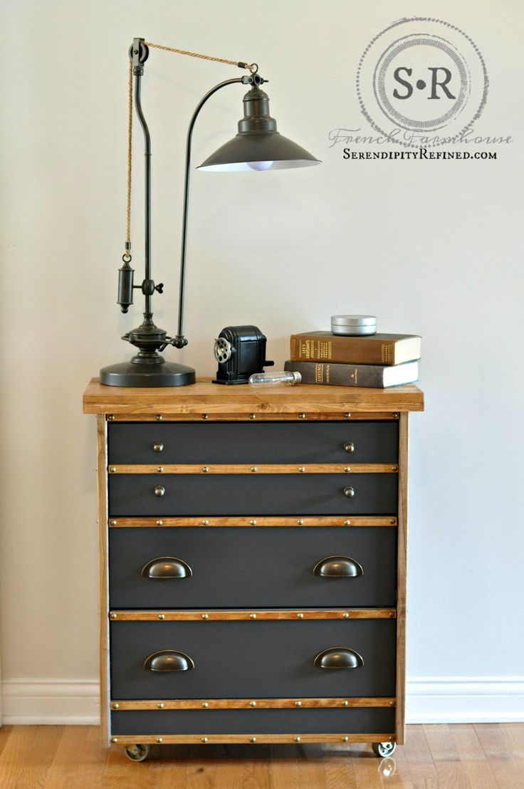 IKEA Rast Hack: Industrial Nightstand - trim wood, charcoal gray paint, bronze gold cup pulls, decorative nail heads, metal casters, MinWax Early American stain