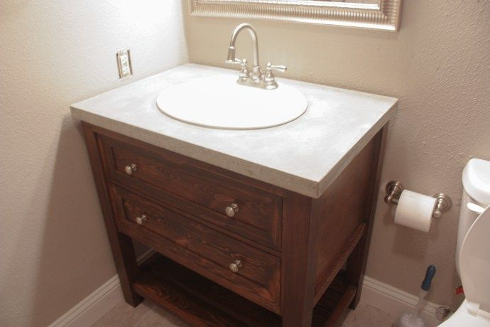 Diy Concrete Vanity Countertop Diy Concrete Countertops Diy Bathroom Vanity Diy Vanity