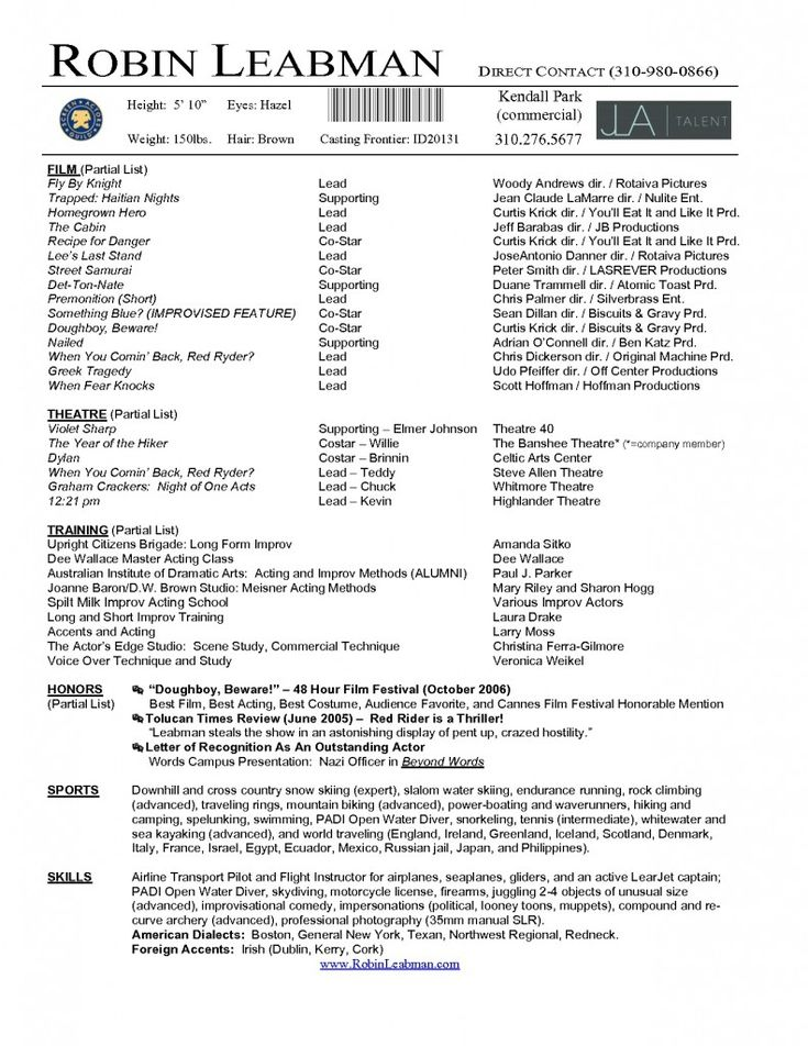 Acting Resume Template Download Free -    wwwresumecareer - professional actors resume