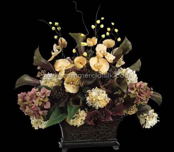 "Artificial Flower Arrangement w/ Hydrangea, Calla Lily, Phalaenopsis, Berry Silk Flowers - 25"" - Commercial Silk Int'l"