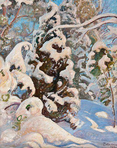 """Pekka Halonen ~ """"Winter Landscape"""", 1917 ~ oil on canvas"""