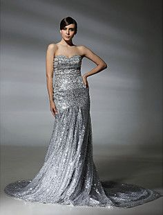 Squined Trumpet/Mermaid Sweetheart Court Train Evening Dress... – USD $ 299.99