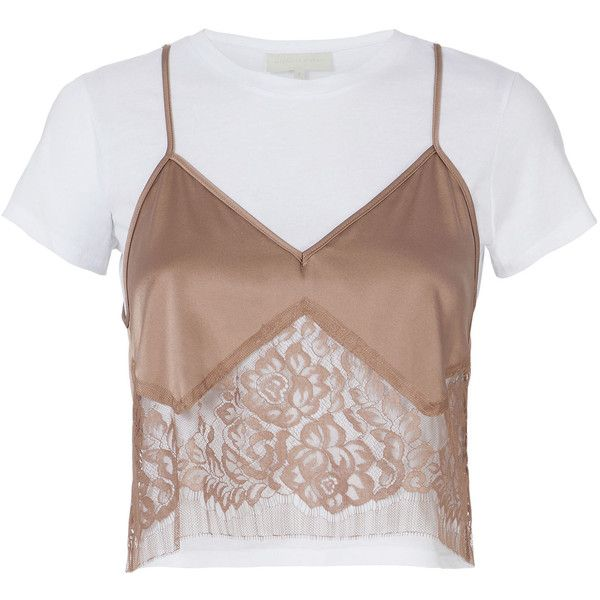 Michelle Mason Blush Lace Camisole Layered T-Shirt found on Polyvore featuring tops, t-shirts, brown lace cami, lace cami top, brown tee, camisole tops and layering t shirts