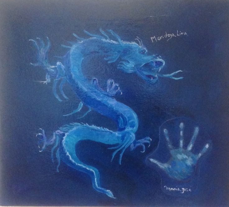 Samurai blue dragon Acrylic over canvas  Private collections