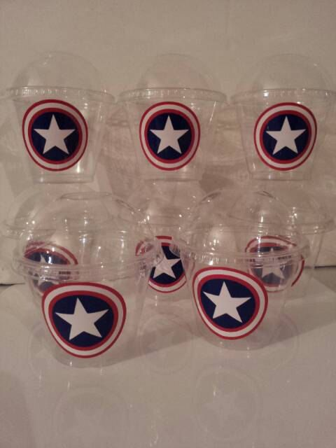 Captain America 9 oz Party Favor Cups by KuztomKreationz09 on Etsy