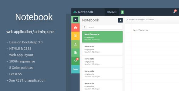 Notebook - Web App and Admin Template | Templates, App and Notebooks