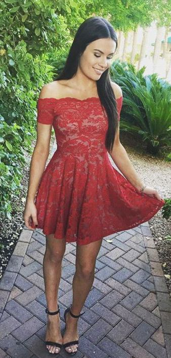 off the shoulder red homecoming dresses,simple lace short prom party dress