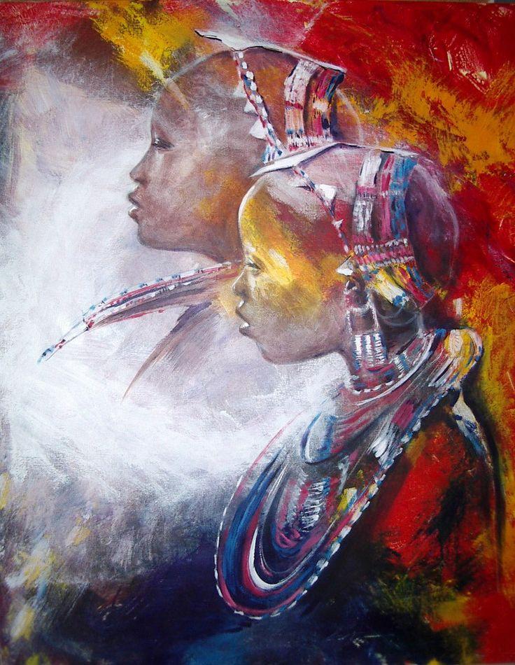 ... Schilderijen op Pinterest - Afrikaanse kunst, Zwarte kunst en