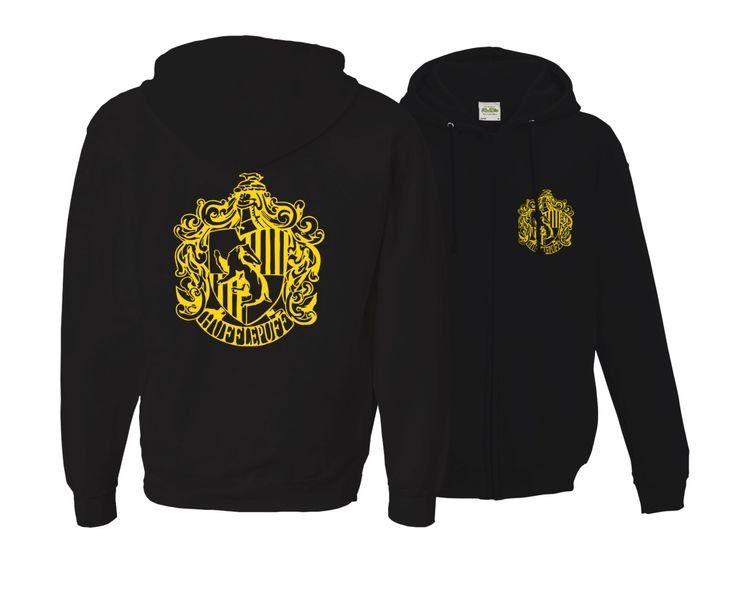 Harry potter Inspired Zip Up Hufflepuff House Unisex Adult Hoodie with gold emblem in front and back. by iganiDesign on Etsy