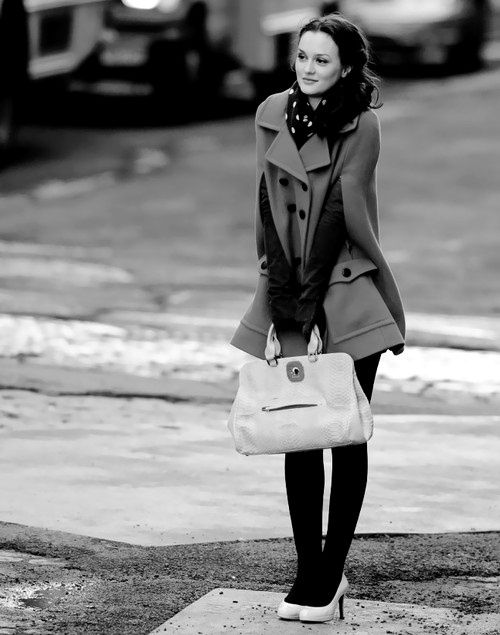 Super cute: Winter Style, Blair Waldorf, Winter Outfits, Fall Fashion, Black Tights, Leighton Meester, Winter Coats, Blairwaldorf, Gossip Girls