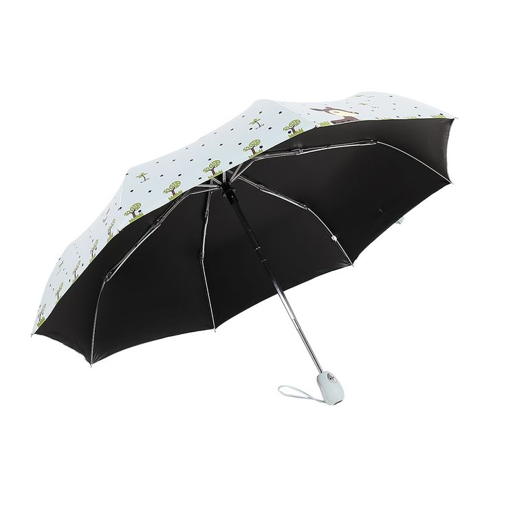 Folding Umbrella Rain Women Top Quality Automatic Sun Umbrellas Anti UV Cute Cartoon Pattern Portable Black Coating 8K Parasol